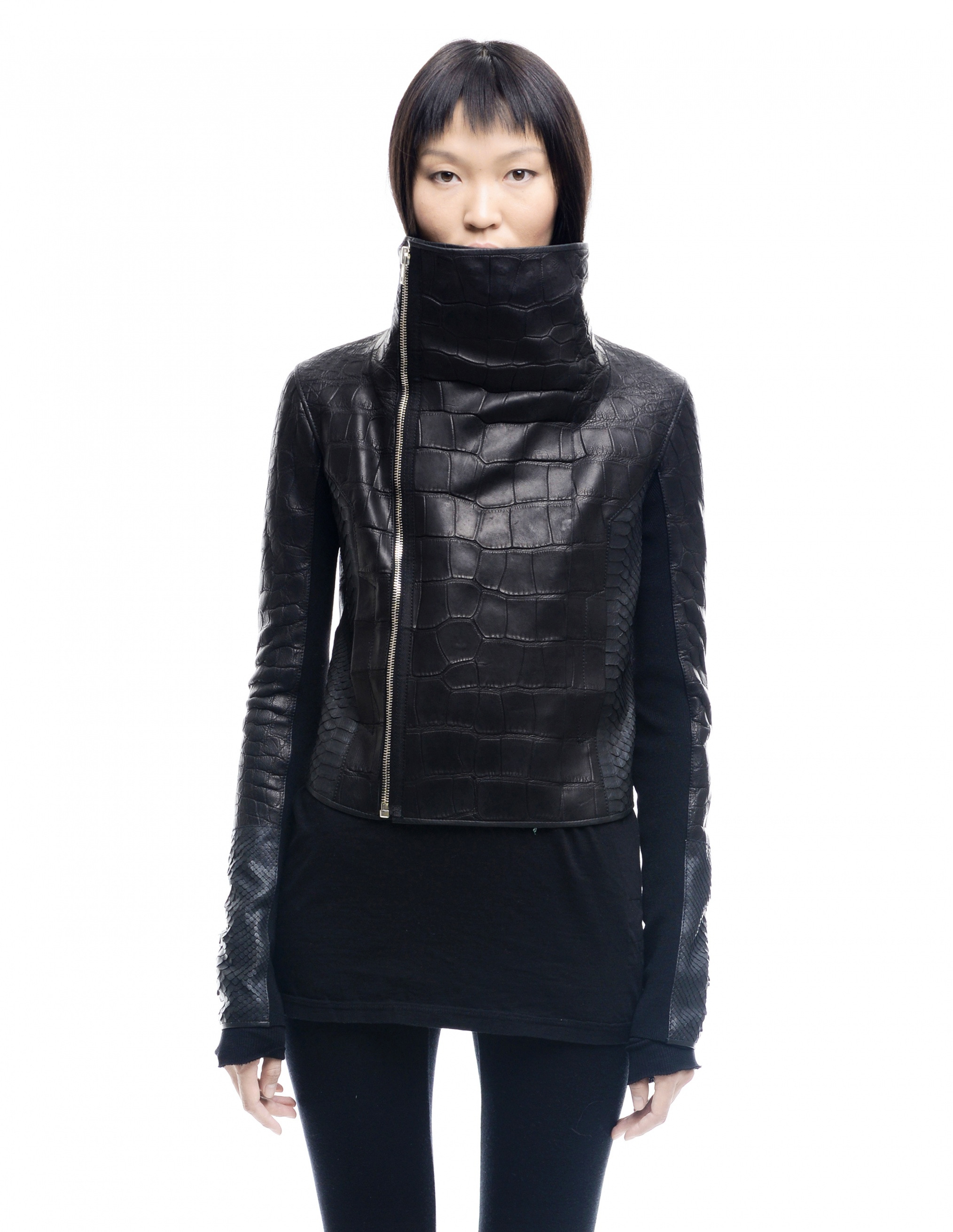 Crocodile and python leather jacket HUN Rick Owens - buy
