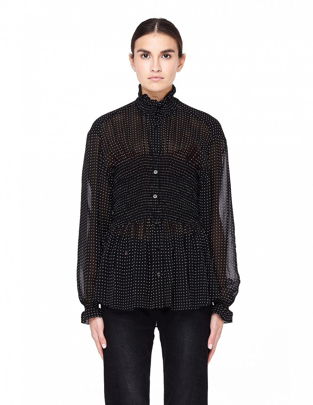 Navy Blue Polka-Dot Blouse Balenciaga - buy