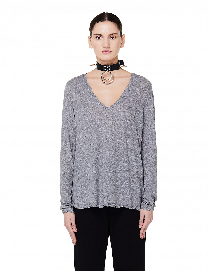 Grey V-Neck Long Sleeve T-Shirt James Perse