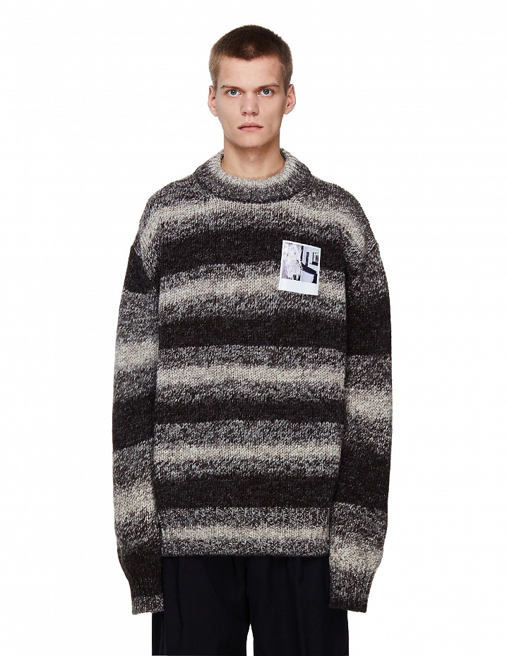 Striped Sweater With Polaroid Patch Raf Simons